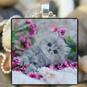 Necklace- New- Cute Gray Kitty Cat